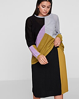 I.Scenery Zilla Pleat Panel Midi Skirt