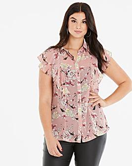 Lovedrobe Print Frill Front Shirt