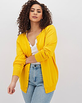 Warm Yellow Crew Neck Cardigan