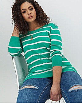 Green/Ivory Crew Neck Jumper
