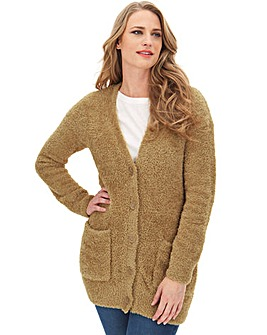 Camel Teddy Yarn Boyfriend Cardigan
