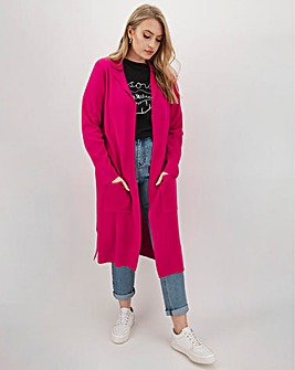 Bright Pink Longline Coatigan