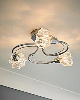 Cier Chrome Flower Glass Ceiling Light