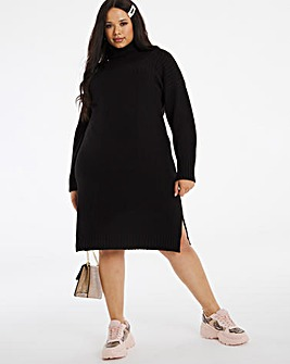 Cosy Rib Yoke Roll Neck Sweater Dress
