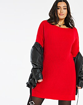 Slash Neck Jumper Dress