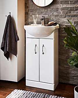 High Gloss Double Door Vanity Unit & Basin Set