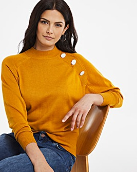 Batwing Jumper With Button Detail