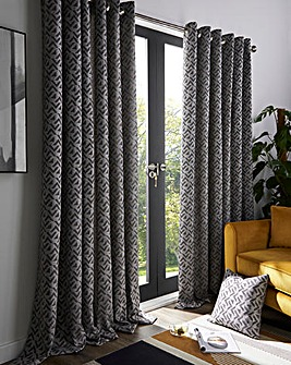 Byron Geometric Lined Eyelet Curtains