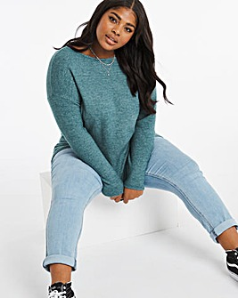 Deep Teal Slash Neck Tunic