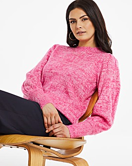 Textured Yarn Jumper With Volume Sleeve