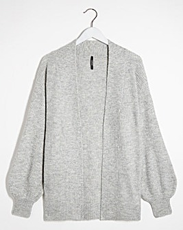 Textured Yarn Puff Sleeve Cardigan