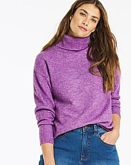 Violet Knitted Roll Neck Jumper