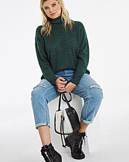 Deep Emerald Roll Neck Jumper