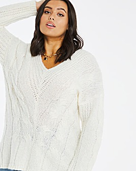 V Neck Cable Jumper