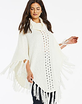 Roll Neck Poncho With Fringing