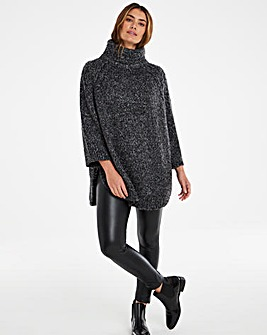 Cable High Neck Curved Hem Jumper