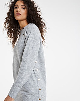 Light Grey Marl Popper Tunic