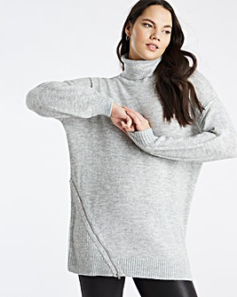 Zip Tunic With Roll Neck