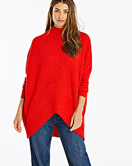 Red Cosy High Neck Ribbed Detail Jumper