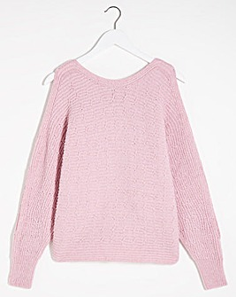 Batwing Jumper With Cut Out Shoulder Detail