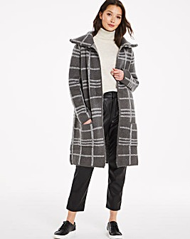 Houndstooth Grid Cosy Collar Coatigan