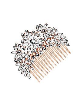 Jon Richard Rose Crystal Flower Comb