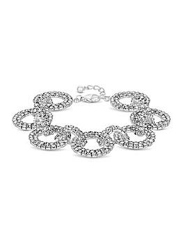 MOOD Silver Pave Crystal Link Bracelet