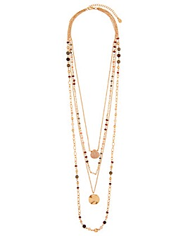 Accessorize Stone Coin Layered Necklace