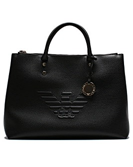 Emporio Armani Raised Logo Shopper Tote