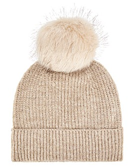 Monsoon Camilla Camel Lurex Knitted Hat