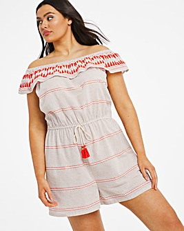 Orange Stripe Bardot Beach Playsuit