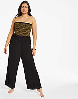 Shirred Bandeau Beach Jumpsuit