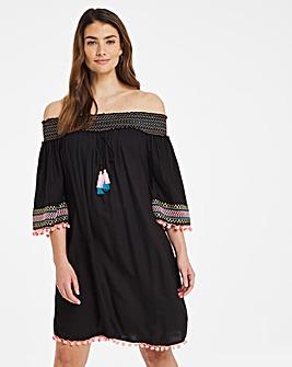 Embroidered Bardot Beach Dress