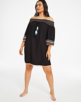 Embroidered Bardot Beach Dress