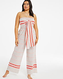 Orange Stripe Tie Beach Jumpsuit