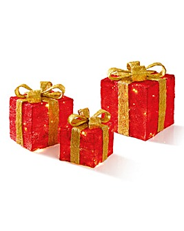 Set of 3 Red Parcels with Gold Bow