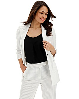 Pin Stripe Ruched Sleeve Blazer