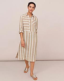 White Stuff Imman Shirt Stripe Linen Dress