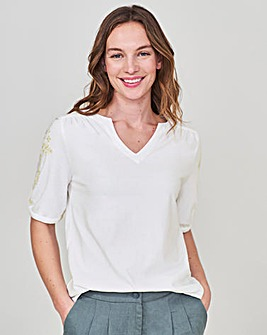 White Stuff Layla Embroidered Jersey Top