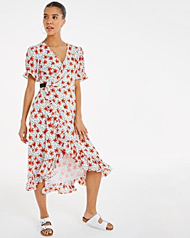 Chi Chi Floral Spot Wrap Midi Dress
