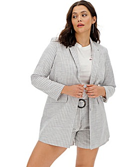 Simply Be Considered Soft Grey Stripe Relaxed Blazer