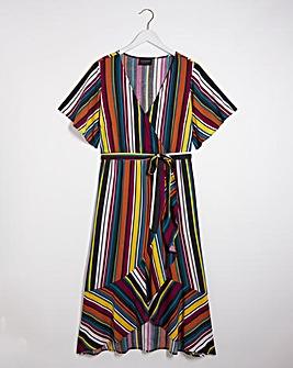 Lovedrobe Striped Ruffle Midi Dress