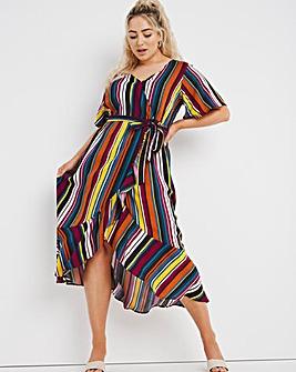 Lovedrobe Striped Ruffle Wrap Dress