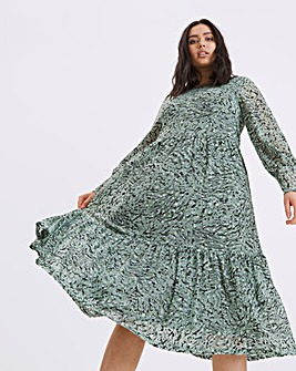 Finery London Zoe Tiered Animal Midi Dress