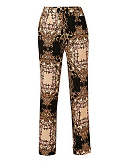 Scarf Print Tapered Leg Trousers