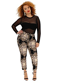 Scarf Print Crepe Tapered Leg Trousers