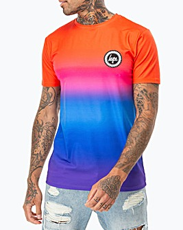 Hype Red Rainbow Fade T-Shirt Long