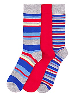 Wild Feet Stripe 3 Pack Socks
