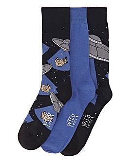 Wild Feet Pug 3 Pack Socks