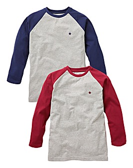 KD Boys Pack of Two L/S Raglan T-Shirts
